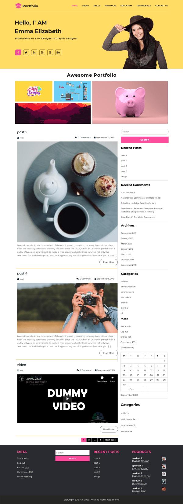 Free WordPress Portfolio Theme