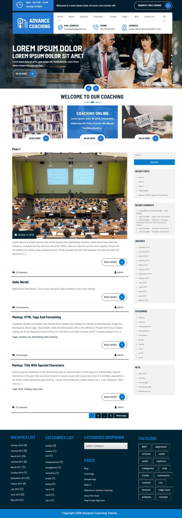 Free Coaching WordPress Theme