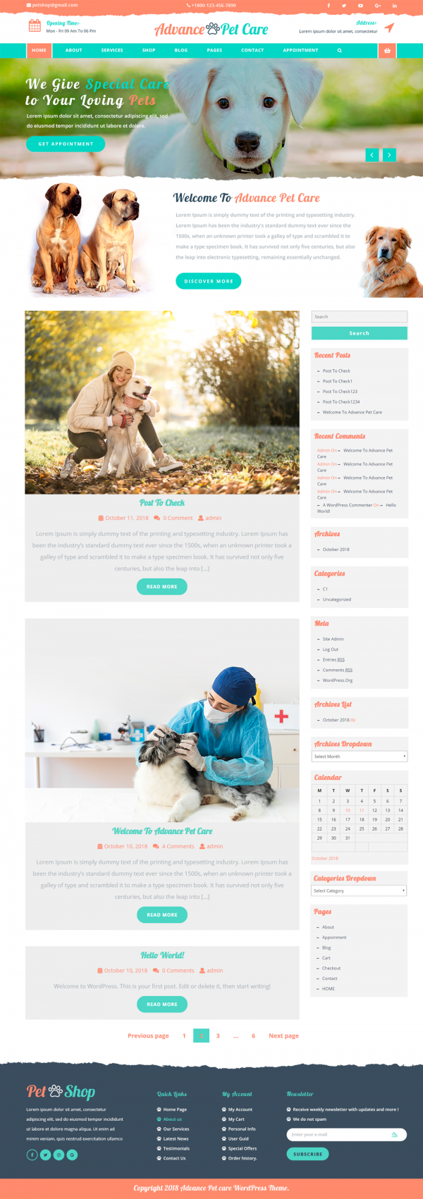 Free Pet WordPress Theme